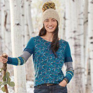 Sundance Sharrar paisley long sleeve top size petite small